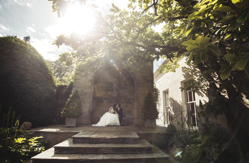Bride and groom Ridding park harrogate