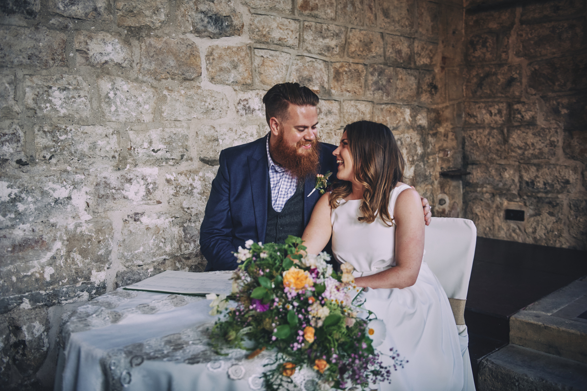 Bride and groom during Barden Tower wedding