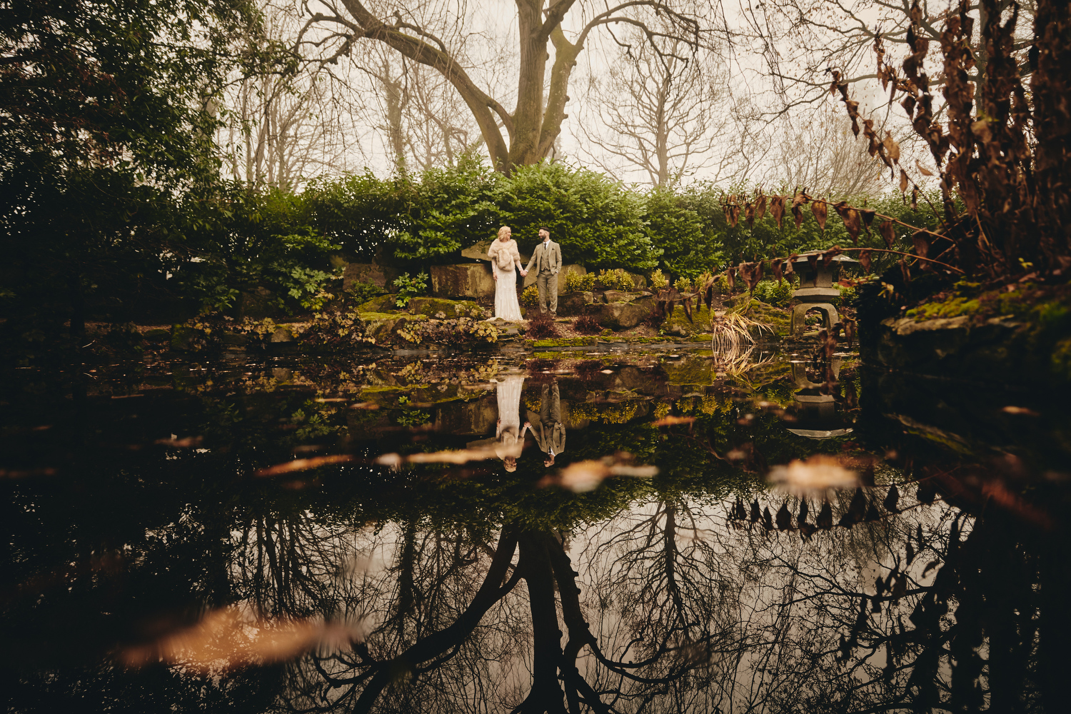 Bride and Groom in Japanese garden, Grantley Hall